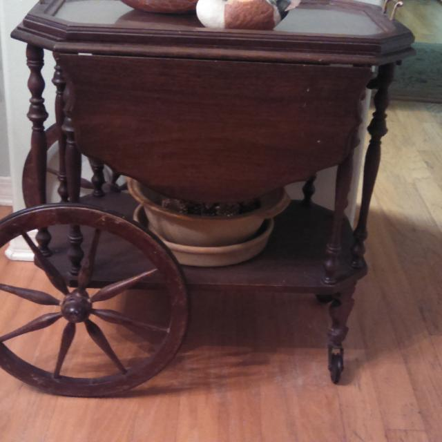 Antique Wooden Tea Cart With Glass Tray On Top