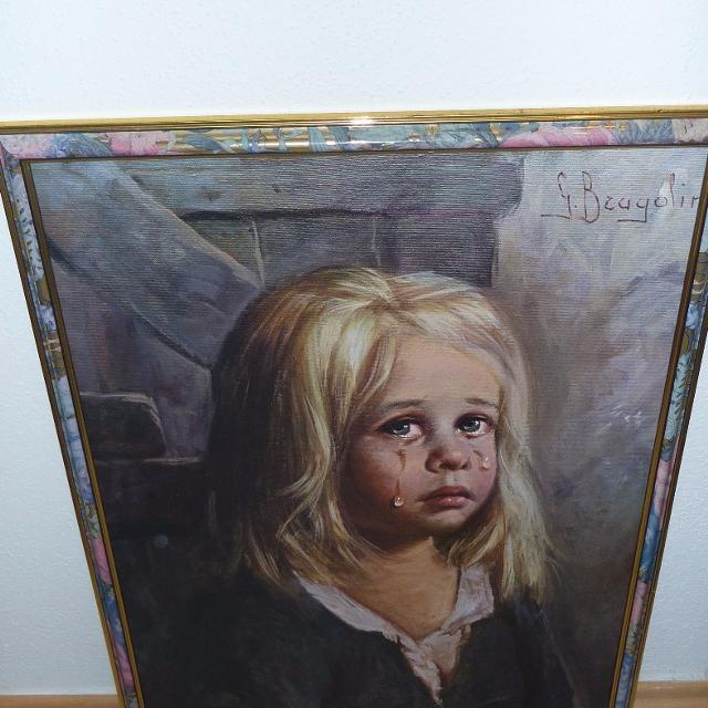 Large G Bragolin crying girl painting