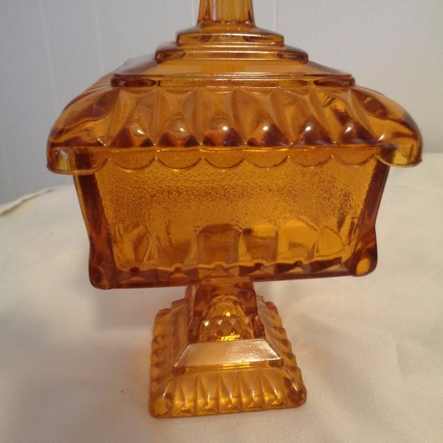 FINAL REDUCTION***Vintage Amber Square Pedestal Cov  Candy Dish (1930s)