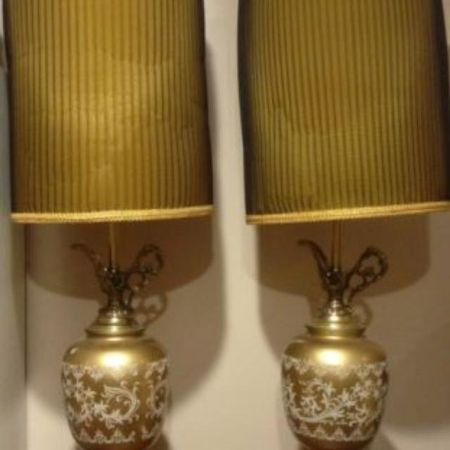 Best pair of vintage 3 way table lamps with lampshades brass pair of vintage 3 way table lamps with lampshades brass glass gold aloadofball Choice Image