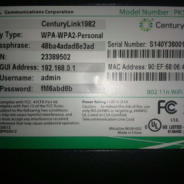 CenturyLink zyxel modem Model number : PK5001Z CenturyLink