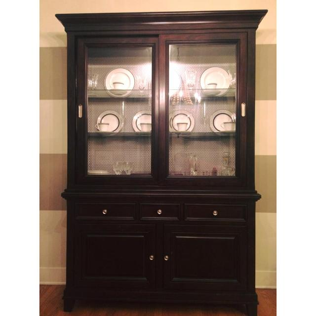 Find More Dark Wood China Cabinet Hutch With Glass Doors Silver