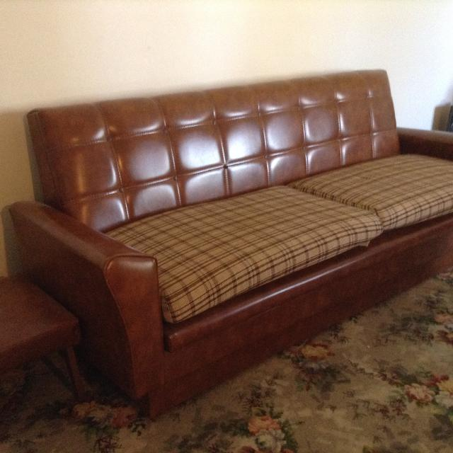 Best Vintage Lounge Suite Sofa Bed Converts To Double Storage Area Including 2 X Armchairs And Foot Stool In Excellent Condition For