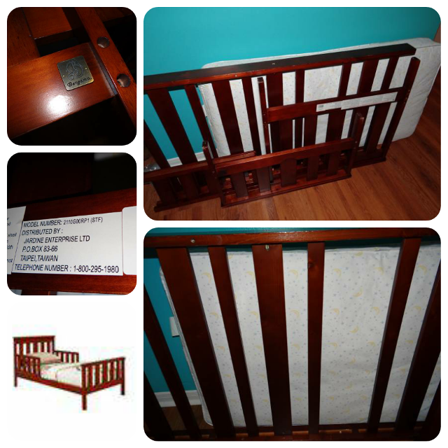 Jardine Bergamo Colonnade Toddler Bed In Cherry Color WITH Mattress