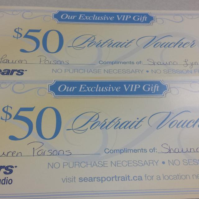 Sears portrait studio gift certificates