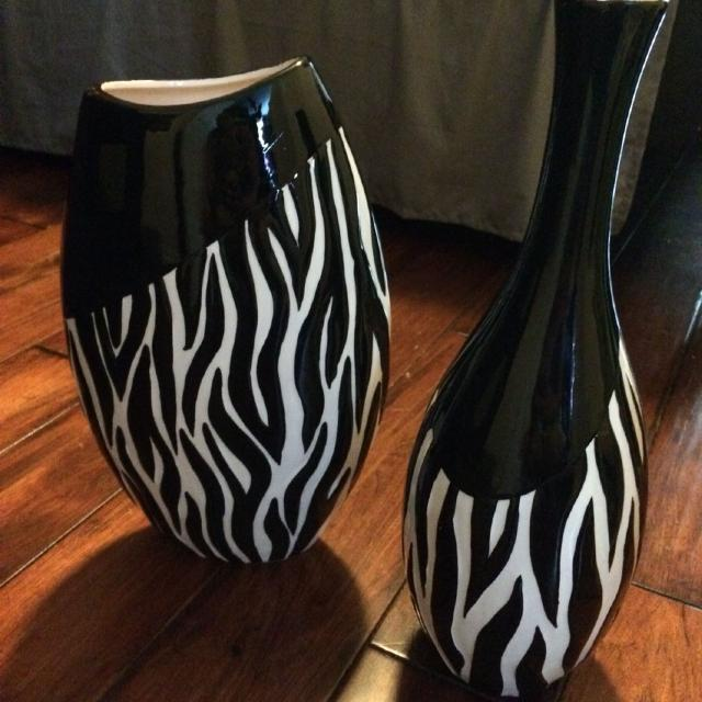 Find More 2 New Zebra Print Decorative Vases Paid 50 Us For Sale