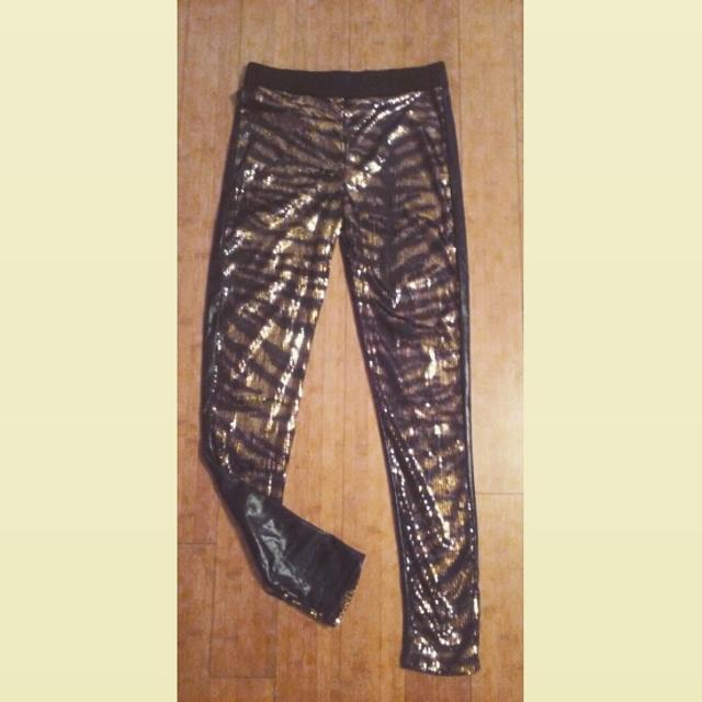 f883076a1a23d Best Black & Gold Sequin Leggings With Faux Leather On Back ❤new❤ for sale  in Baton Rouge, Louisiana for 2019