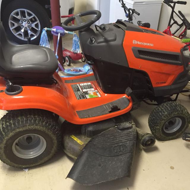 Husqvarna YTH22V46 22-HP V-Twin Hydrostatic 46-in Riding Lawn Mower   Purchased spring of 2013  Gently used on small yards under 1 acre each