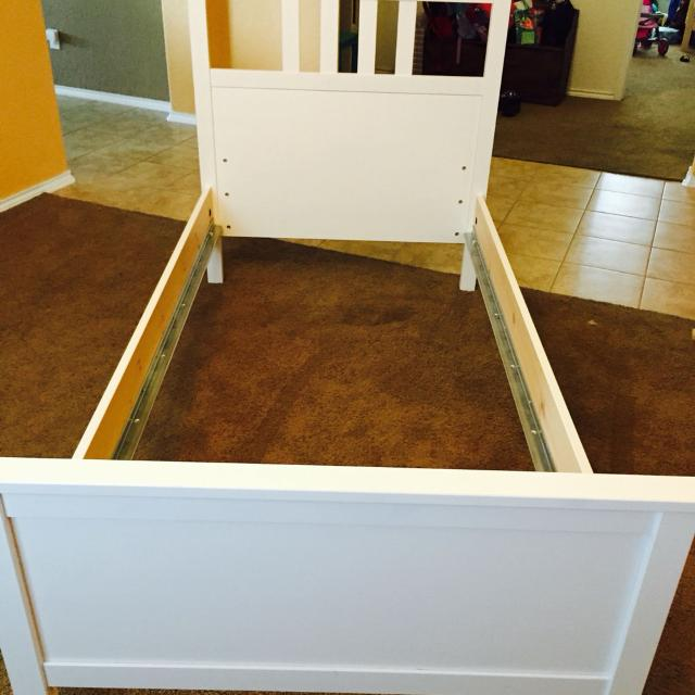 Beautiful IKEA Hemnes bed frame  white stain  twin size frame POMS  Still  assembled. Find more Beautiful Ikea Hemnes Bed Frame  White Stain  Twin Size