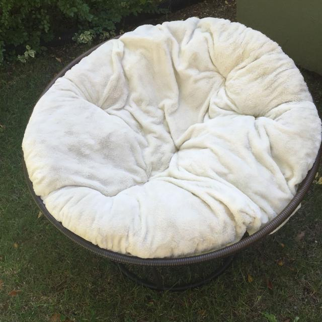 Find more Papasan Chair: Metal Outdoor Frame With Fuzzy Cushion ...