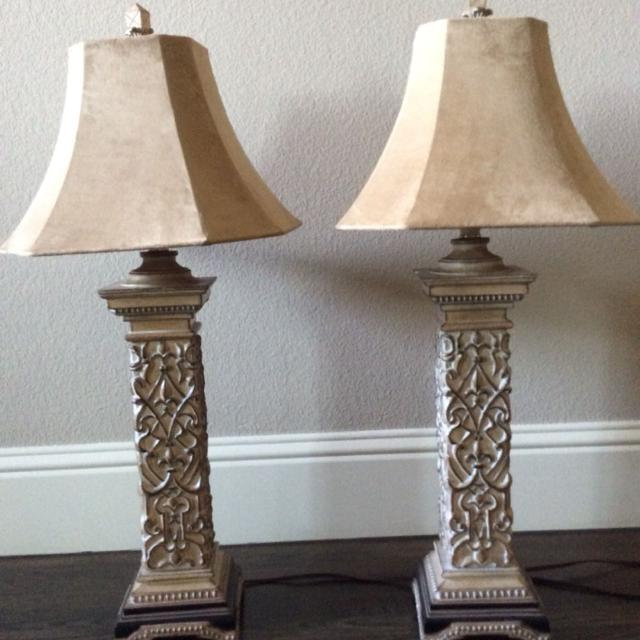 Best Pair Drexel Heritage Buffet Lamps Suede Lamp Shades Fleur De