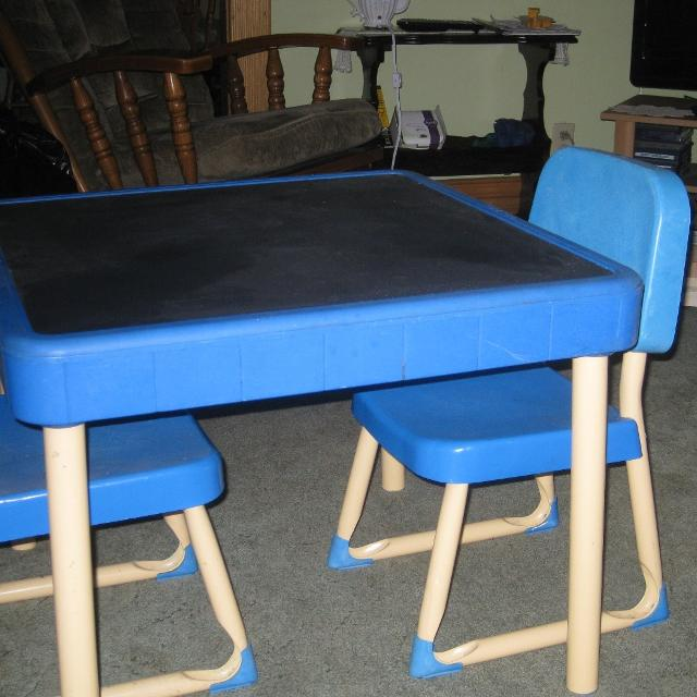 Fisher Price Table And Chair Set Top Was Painted With Chalkboard Paint
