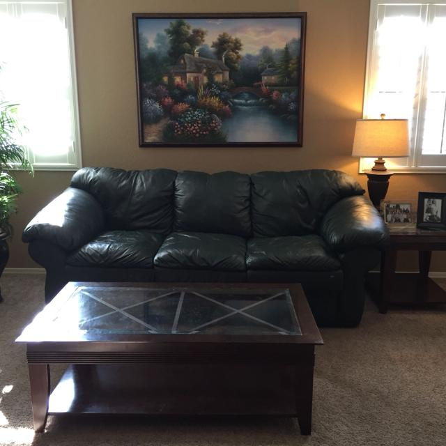 Dark Green Leather Couch