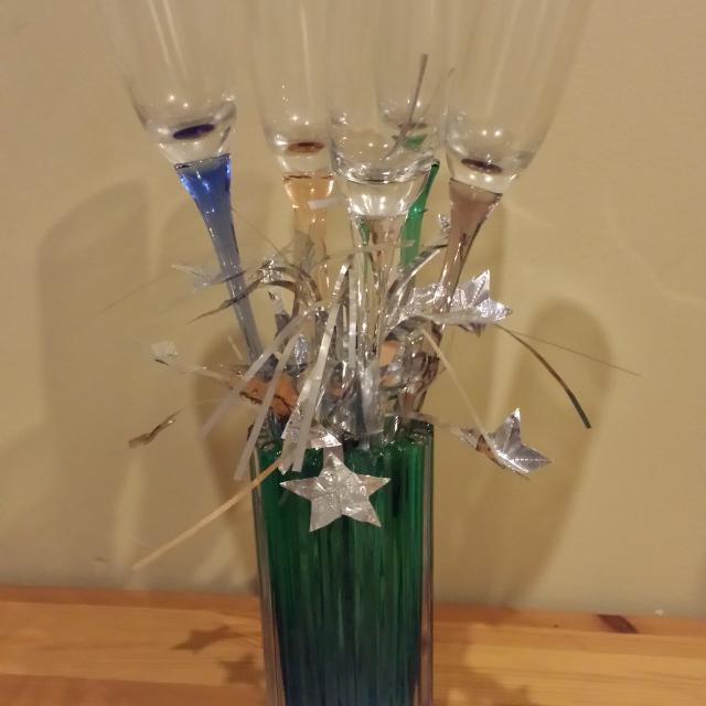 Find More Set Of 5 Handblown Glass Champagne Flutes With Vase Holder