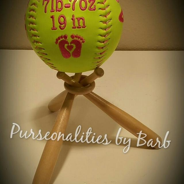 5501f1fef Birth announcement embroidered softball