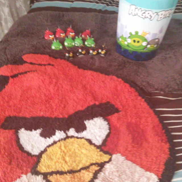 Angry Bird Shower Curtain 2 Rugs 1 Black Rectangle Shaped