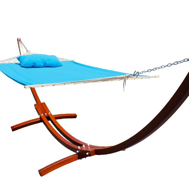 set swing arc stand with wooden bed and teak outsunny outdoor wood hammock person canopy living