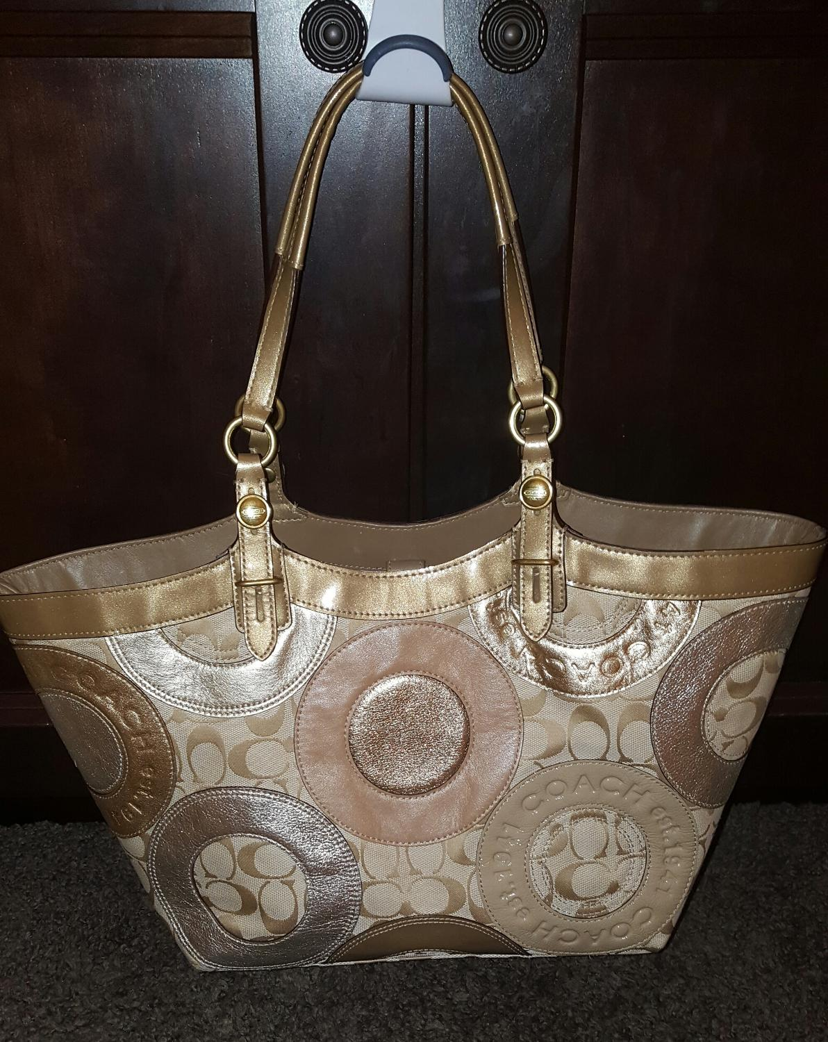 Find More Coach Signature Carly Gold Metallic Pieced