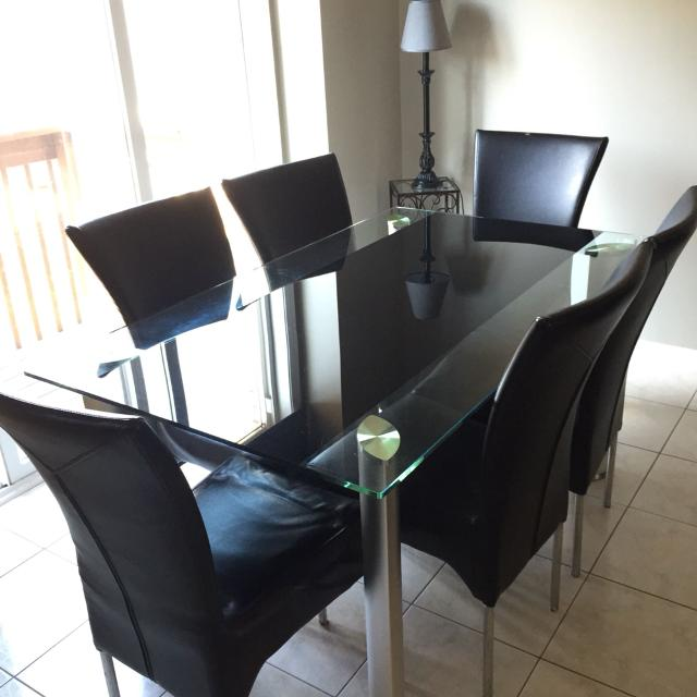 7 Piece Leons Dining Table Set Kept In Good Condition Glass And 6
