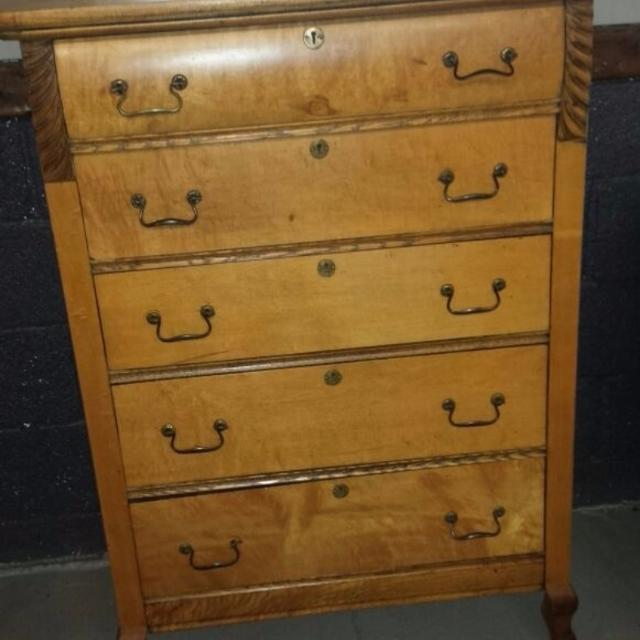 Antique 5 Drawer Dresser With Keyholes And Wooden Wheels