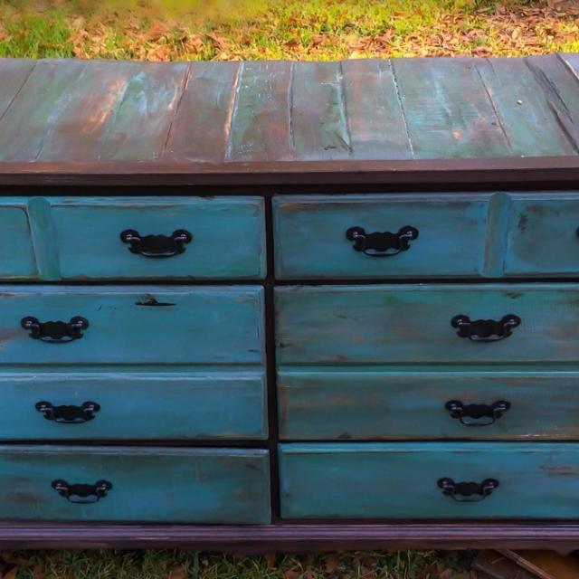 Vintage Restored Dresser with Reclaimed Wood Top - Find More Lower Price!!! Vintage Restored Dresser With Reclaimed