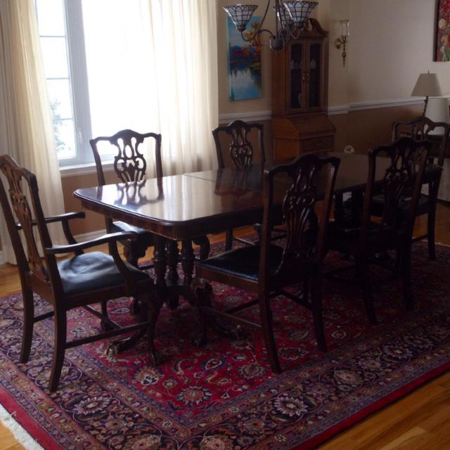 Antique Solid Mahogany 1930 S Dining Room Table And Chairs Seat Cushions Need To Be Redone