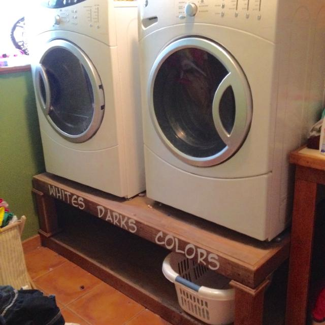 Ge Front Loading Washer And Dryer Plus Custom Pedestal Shelf