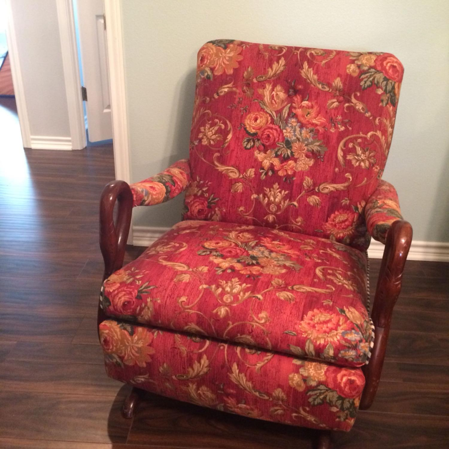 watch 1f72d 84143 Antique platform rocker, swan neck wooden arms. Well upholstered, perfect  condition.