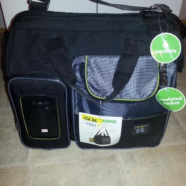 Nwt Baby Boom Diaper Bag Black Lime Green