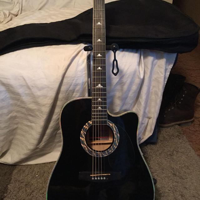 Esteban Black And Silver Signed By S B Anderson Acoustic Electric Guitar With Gig Bag
