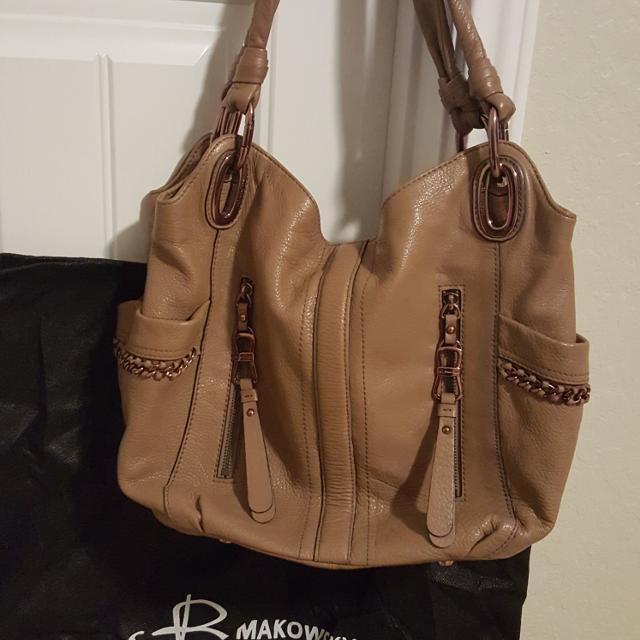 B Makowsky Tan Leather Handbag With Rose Gold Colored Hardware 40 Purchased For 165