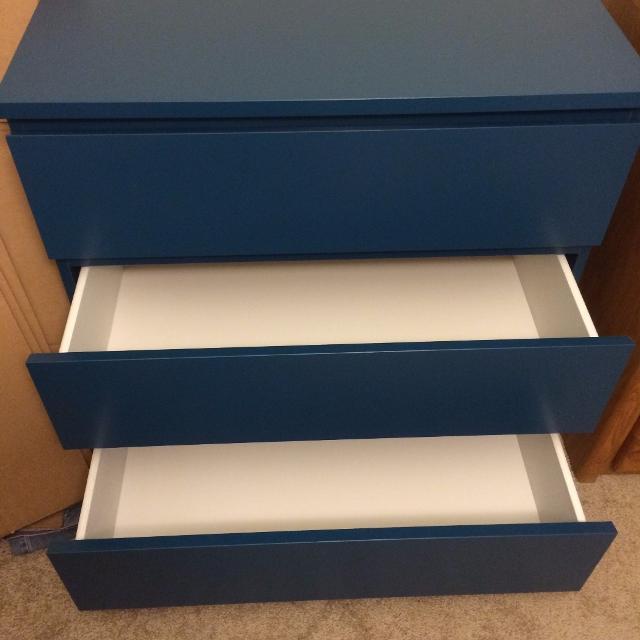 Ikea Malm 3 Drawer Dresser Turquoise