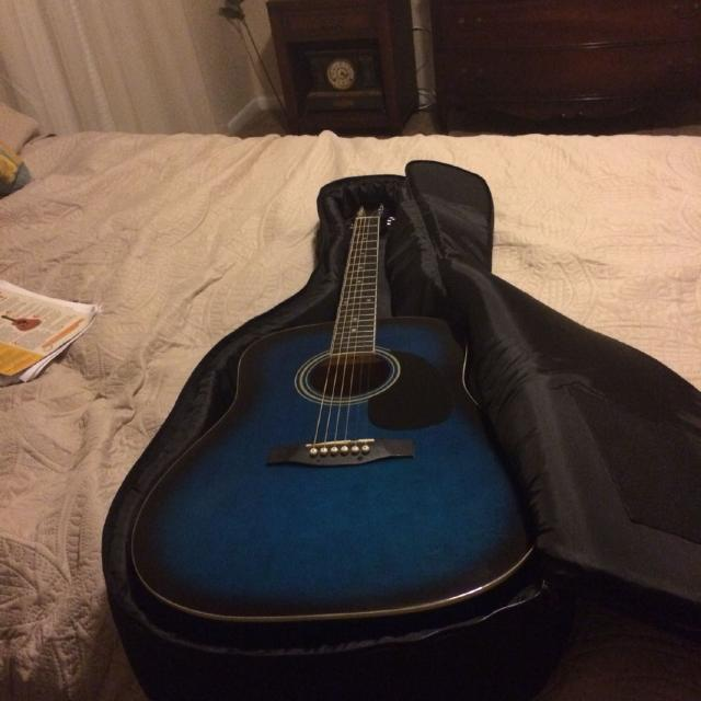 New York Pro Acoustic Guitar Black And Blue Color Retail 110 I
