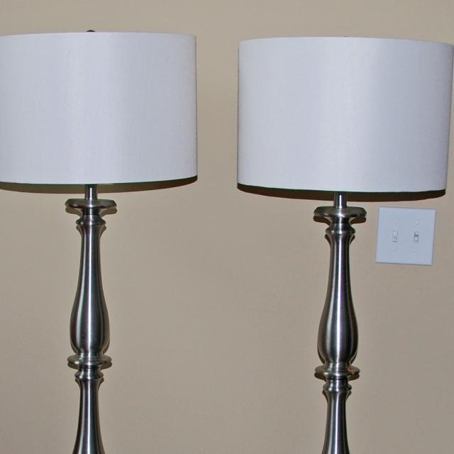 Set of 2 brushed nickel Allen + Roth Woodbine floor lamps w/ lamp shades - Find More Set Of 2 Brushed Nickel Allen + Roth Woodbine Floor