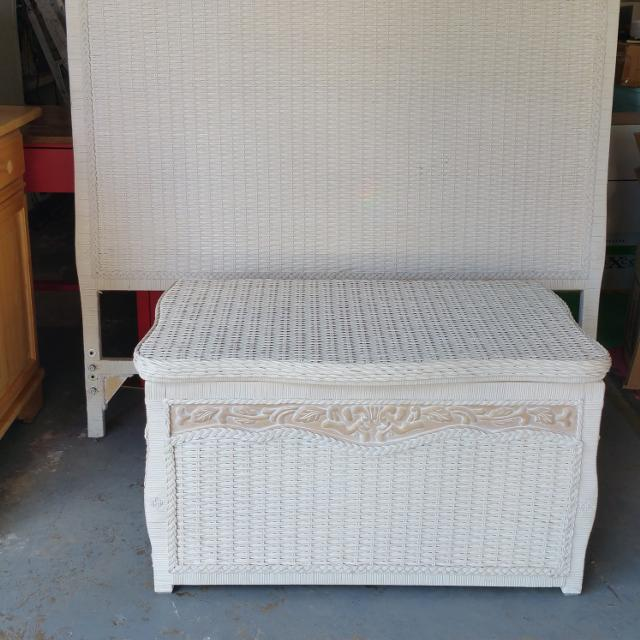White Pier 1 Imports Wicker Headboard and Trunk