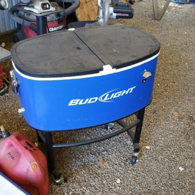 Like new Bud light cooler on roller stand