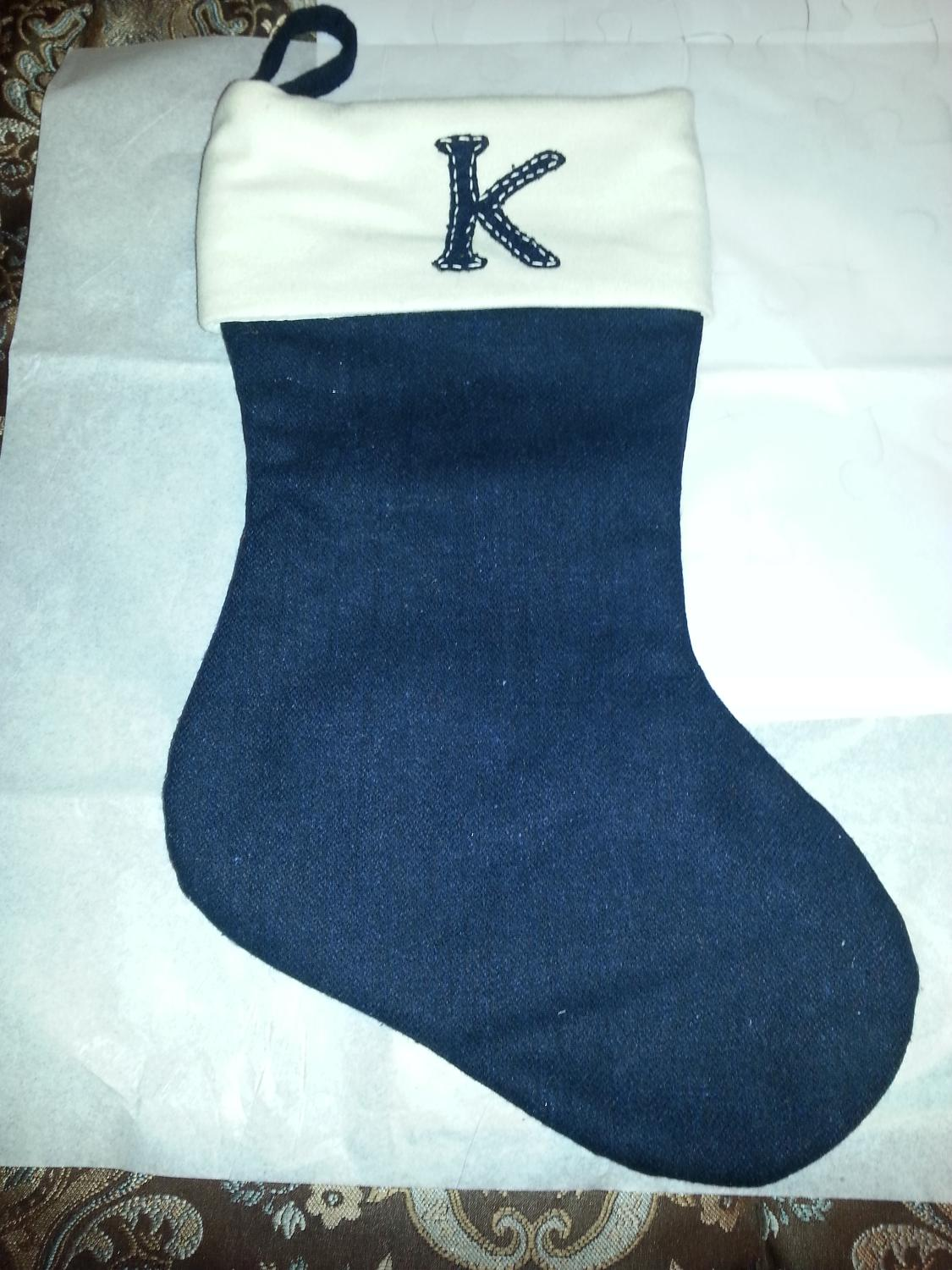Letter Christmas Stockings.Christmas Stocking Black And White With The Letter K Cross Post Reduce Price
