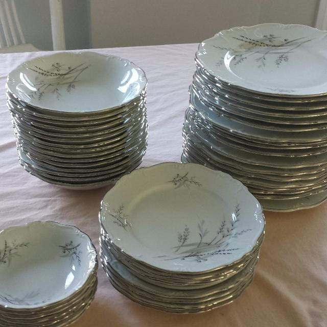 Find More White China Dishes With Grey Wheat Design With Silver