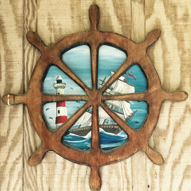 Vintage Nautical Decor Sale: Best Nautical Decor Wood Ship Wheel-hand Painted Vintage