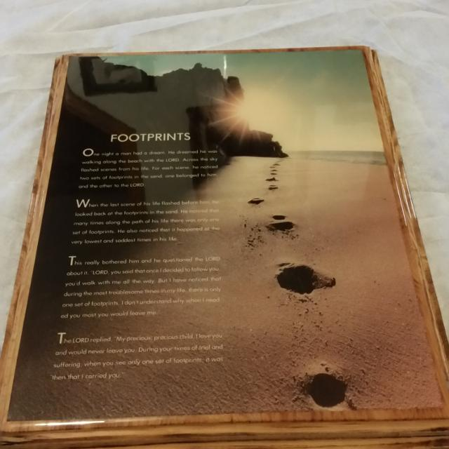 Find more 13x16 Wooden Footprints In The Sand Wall Decor for sale at ...