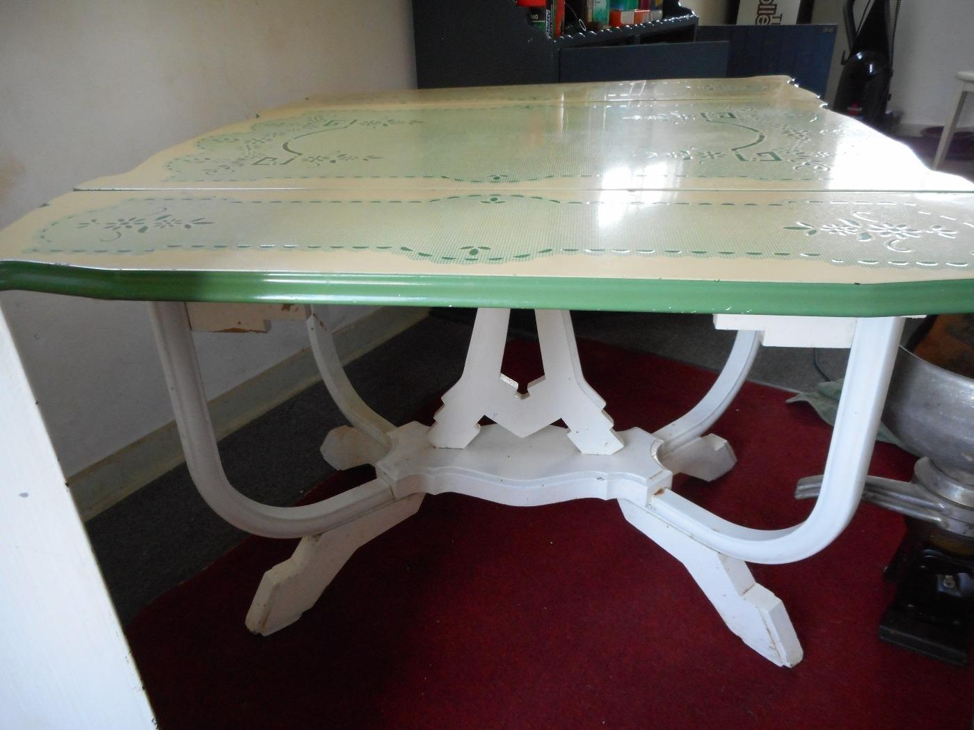 Best Vintage Porcelain Enamel Top Kitchen Table With Leaves And ...