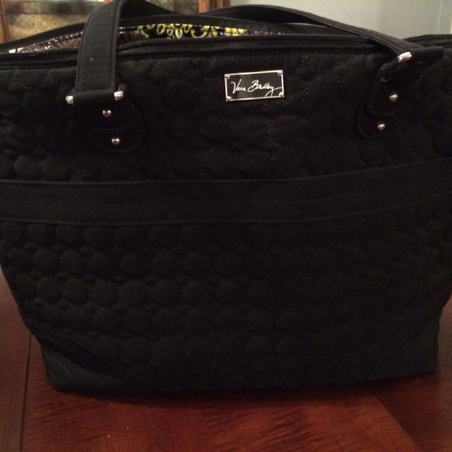 Vera Bradley Black Microfiber Diaper Bag Interior Is Retired Print Baroque