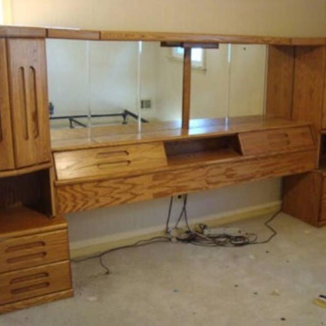 Bedroom set. Full oak headboard and drawers, full 6- drawer dresser with  mirror, and queen mattress