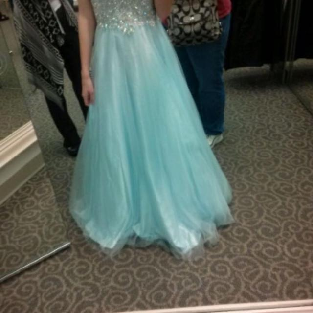Beautiful David S Bridal Light Blue Prom Dress Worn Only Once Reduced Price