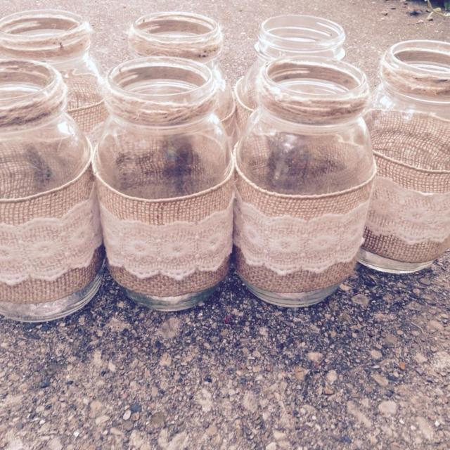 Find More Set Of Seven Large Burlap And Lace Wrapped Mason Jars For