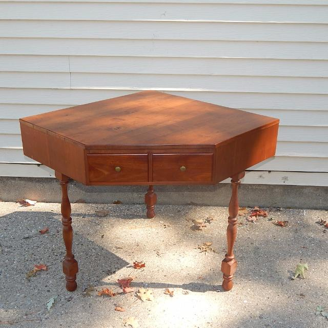 Lovely Antique Corner Table by Kroehler Dated 1958 Solid Wood & Dove Tailed  Drawer 33D x - Find More Lovely Antique Corner Table By Kroehler Dated 1958 Solid