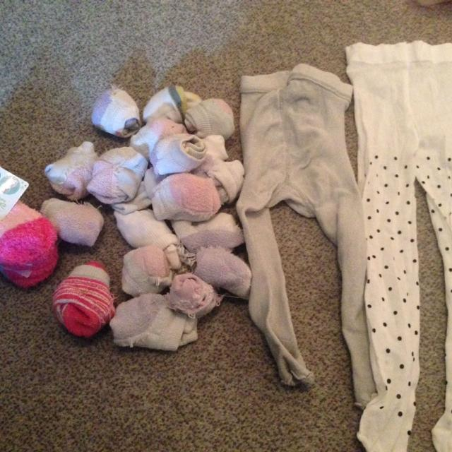 Girls size 18-24 month socks lot 18 pairs (mainly hanes) socks, 2 tights,  one pair of socks with rubber on the bottom, and 3 pair new dosney