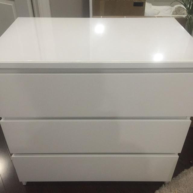 Ikea Malm 3 Drawer Dresser Gl Top