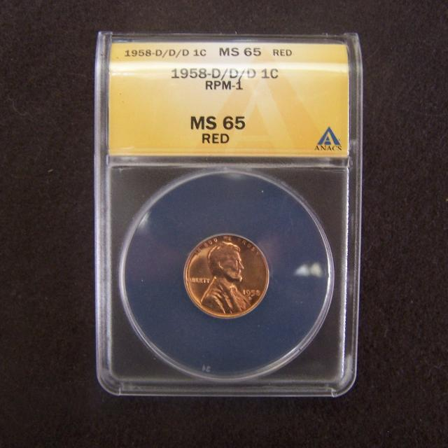 Graded by NGC is a fantastic error lincoln wheat penny 1958 D/D/D