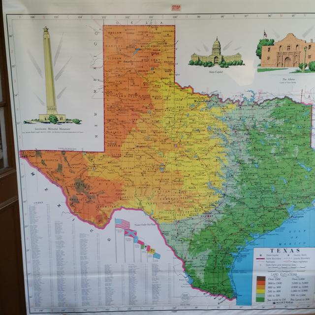 Best Large Vintage Texas Pull Down Map.... $30 for sale